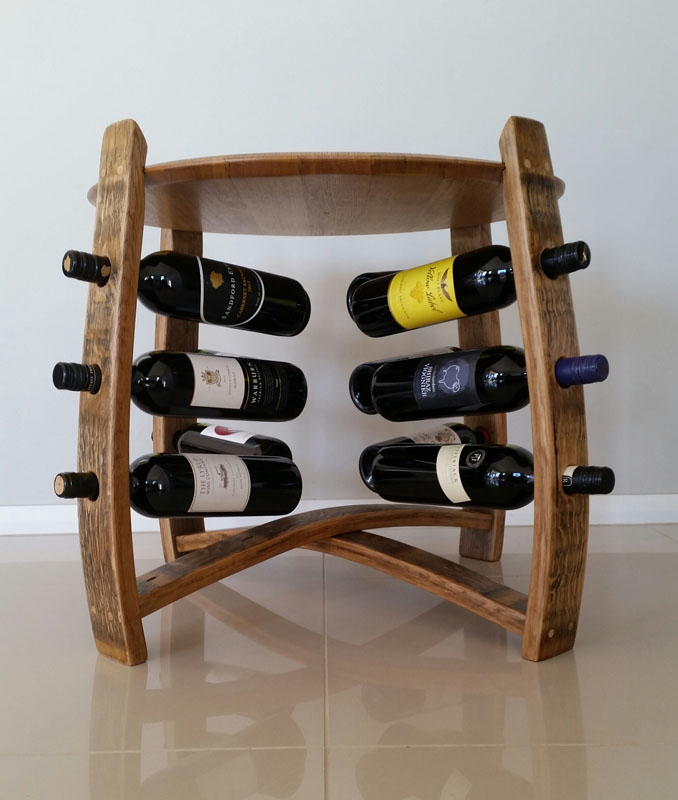 Deconstructed Side Table Wine Rack Barrel Art Designs